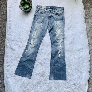 Red engine distressed Vintage original jeans